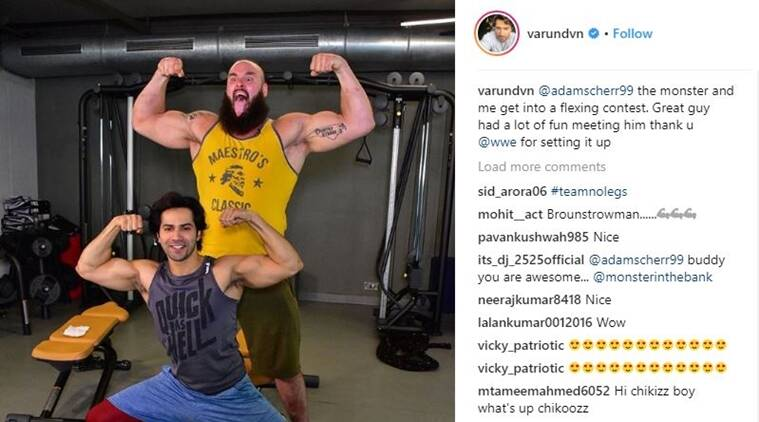 Varun Dhawan and Braun Strowman Instagram photos