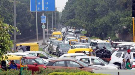Heavy rain throws traffic out of gear in Chandigarh
