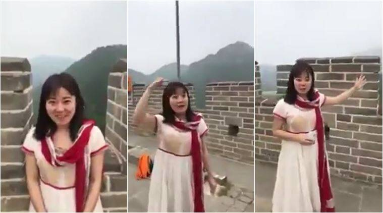 foreigner indian language, foreigner speak tamil, chinese woman tamil, chinese tamil speacking video, great wall of china, china great wall guided tour, viral videos, trending videos, anand mahindra, indian express