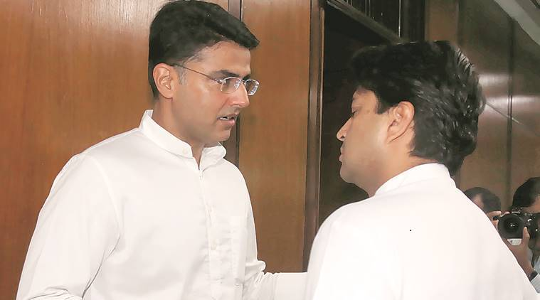 Congress leaders Sachin Pilot and Jyotiraditya Scindia during the CWC meeting on Sunday. (Express photo/Renuka Puri)