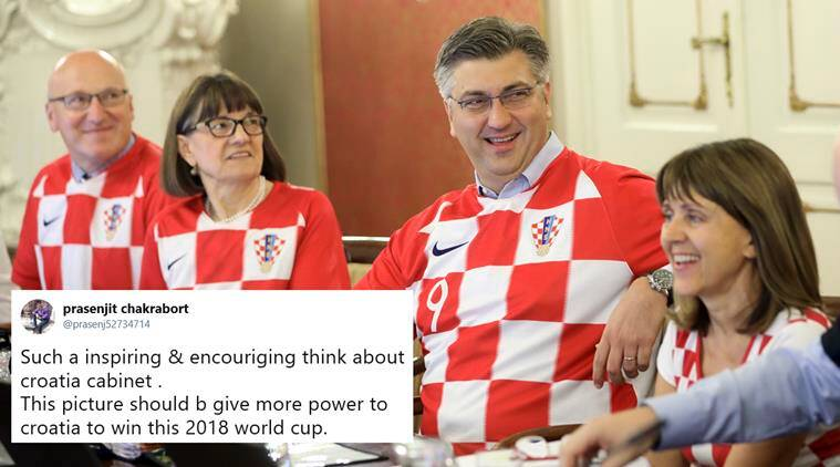 fifa world cup 2018, croatia, croatia vs england, croatia world cup final, croatia cabinet football jersey, croatia cabinet meeting jersey, football news, world news, viral news, indian express