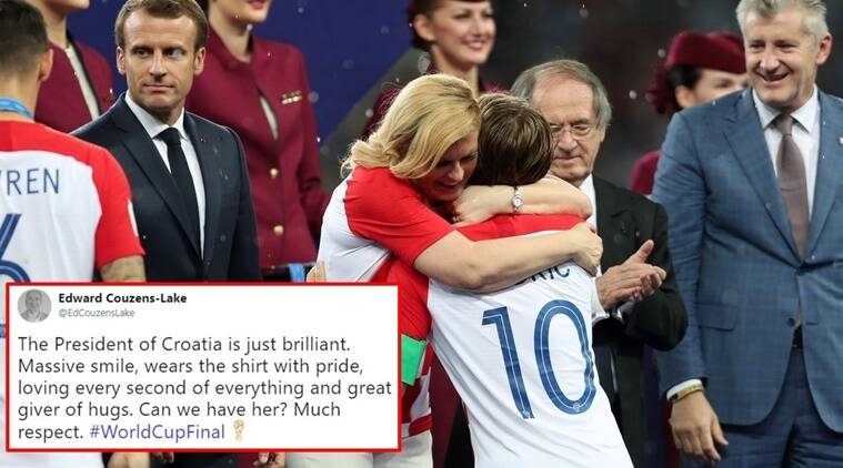 fifa, fifa world cup, fifa croatia, croatia president hugging, croatia president hugging viral, croatia president hugging photos, croatia france world cup, croatia fifa world cup, Indian express, Indian express news