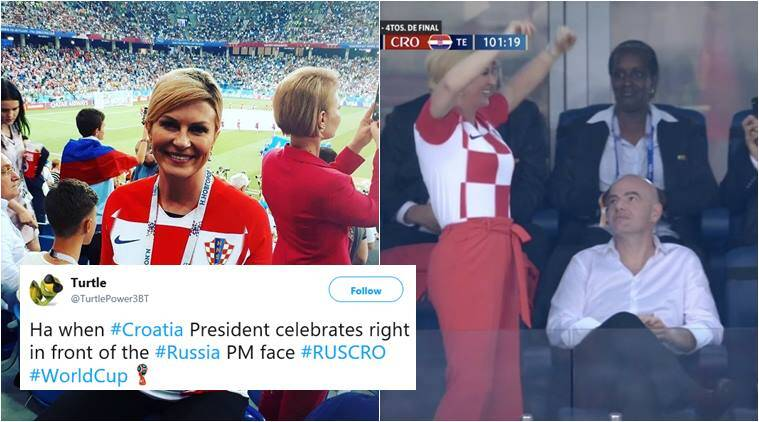 Croatian President celebrating after their second goal grabbed all eye-balls