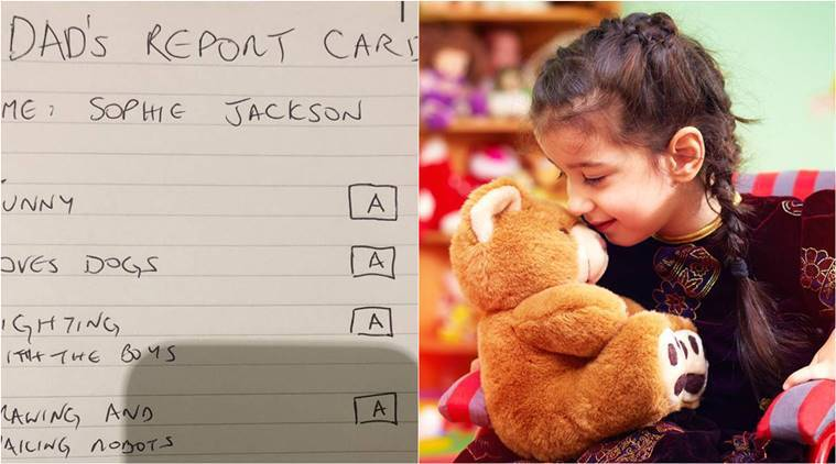 father writes report card, record card viral story, father-daughter report card story,