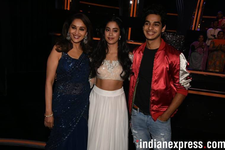 Janhvi Kapoor and Ishaan Khatter with Madhuri Dixit