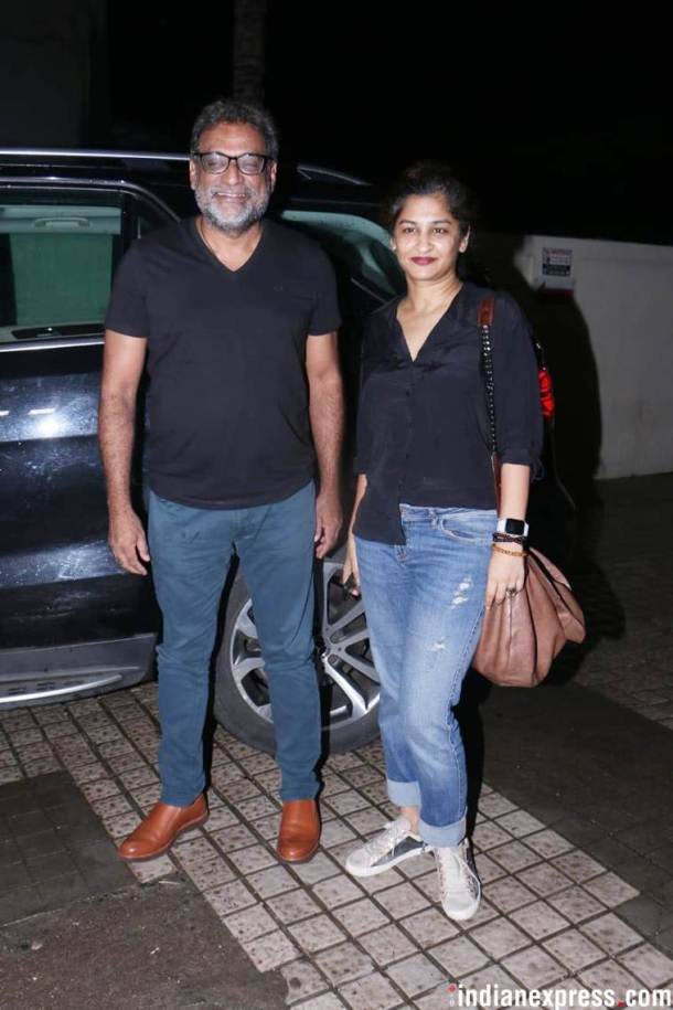 Gauri Shinde and R Balki at dhadak screening