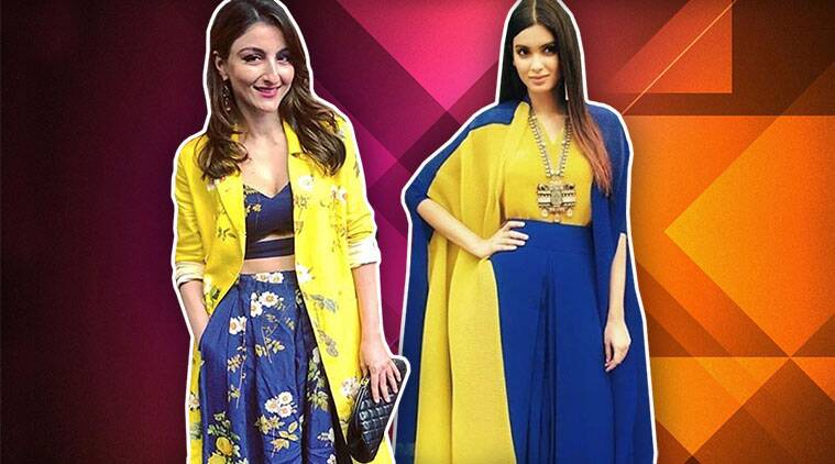 soha ali khan, diana penty, soha ali khan diana penty blue yellow combination, indian express, indian express news