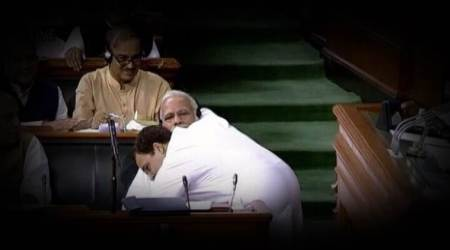 Rahul Gandhi closes his speech with a hug for PM Modi