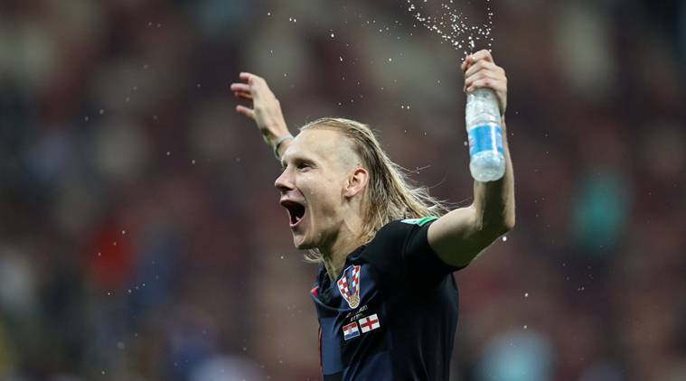 Croatia's Domagoj Vida celebrates after the match