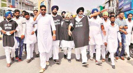 Protests greet Shiromani Akali Dal's 15 km march against drug menace