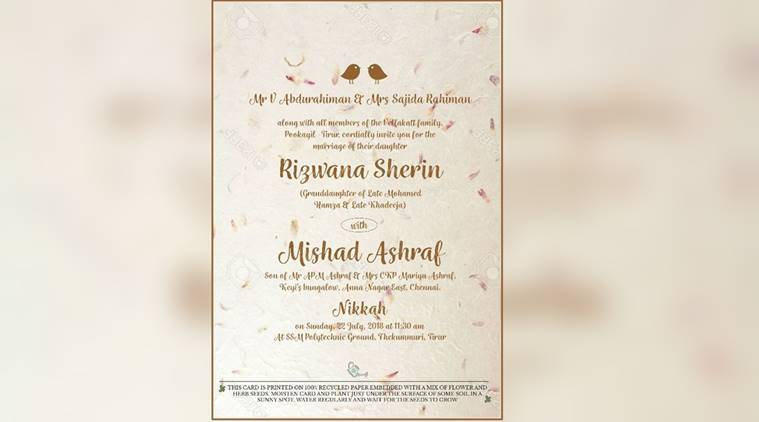 this kerala mla s daughter s wedding reception card is special for a