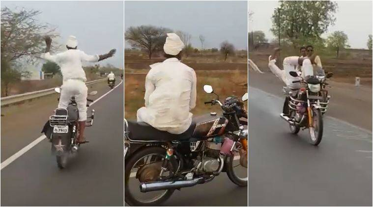biker stunt, elderly man bike stunt, crazy bike stynt, viral videos, funny videos, indian express