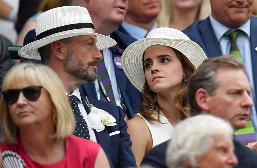 Emma Watson and John Vosler watch Spain's Rafael Nadal continue his semi final match against Serbia's Novak Djokovic