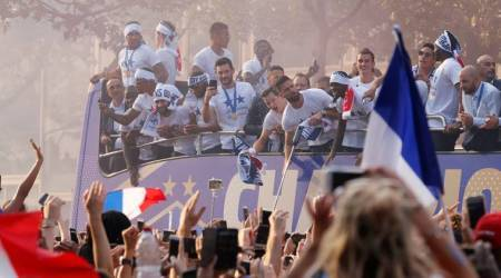 France Victory Parade on the Champs Elysees featuring Olivier Giroud, Hugo Lloris