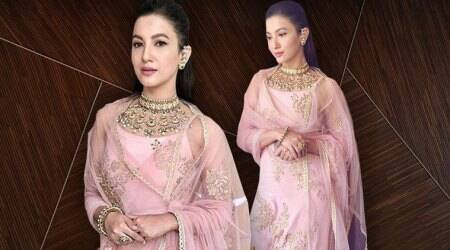 Gauahar Khan plays with shades of pastel pink to get her ethnic look right