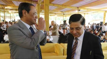 Justice Ranjan Gogoi with CJI Dipak Misra at a farewell function for Justice A K Goel in New Delhi.  (Express Photo by Anil Sharma)