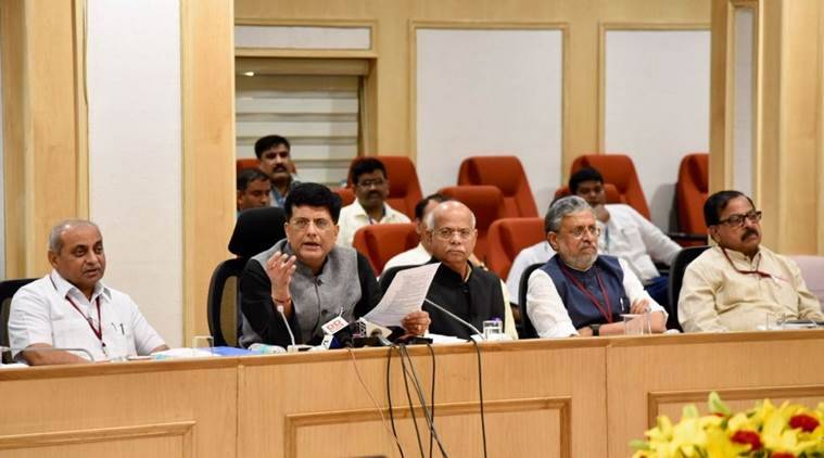 Union Finance Minister Piyush Goyal at the press conference after the GST Council meeting on Saturday. (Source: Twitter/@PiyushGoyal)