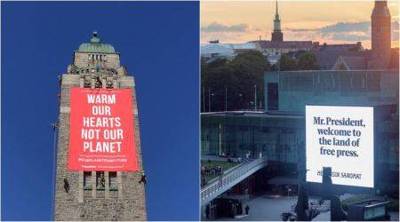 From newspaper to Amnesty: Organisations put up billboards trolling Trump, Putin in Helsinki