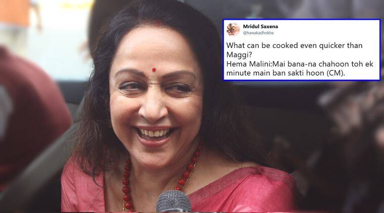 hema malini, hema malini cm remark, hema malini cm in one minute, hemani malini chief minister remark, india news, indian express, trending news, viral news