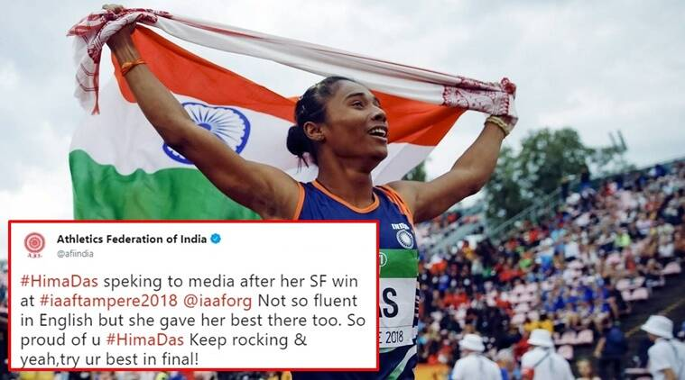 hima das. hima das gold, hima das track gold, hima das athletics, hima das athletics gold, hima das gold Twitter reactions, Hima Das english, Hima Das Athletics Federation English comment, Indian express, Indian express news