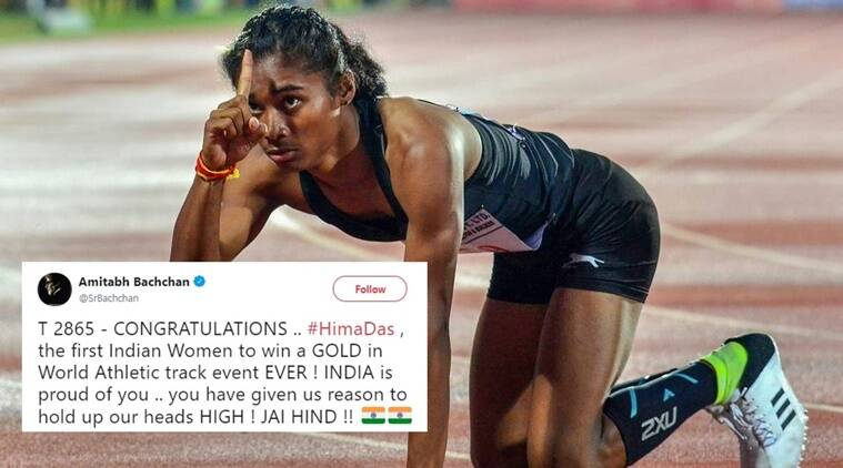hima das, hima das win, hima das gold medal, hima das gold medal for India, hima das track gold medal, Hima das world u20 championships gold medal, Hima Das Twitter reactions, Indian express, Indian express news
