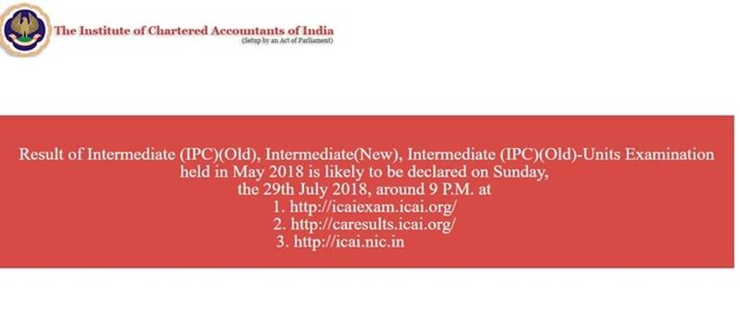 icai.nic.in, icai inter result, icai ipcc result, icai intermediate may result 2018, icai result, inter result 2018 may