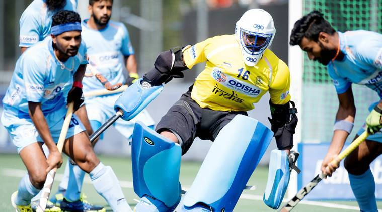 PR Sreejesh and India defence in action against Netherlands in the Champions Trophy