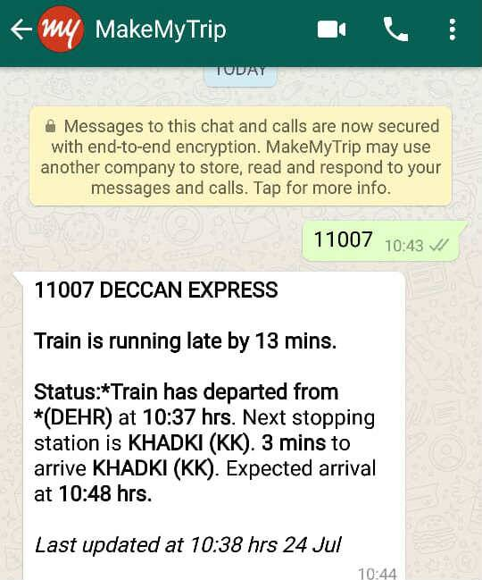 IRCTC Train Status, WhatsApp, Indian Railways, Live Train Status, Train timings, Train status, Indian Railways, Indian Railway Live Train Status, IRCTC Live Train Status, Train Status Live, Live Train running status, current train status, PNR Status