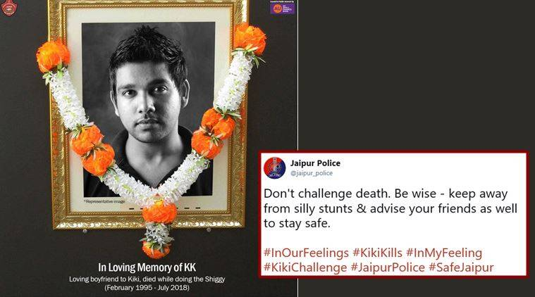 kiki challenge, drake in my feelings, do the shiggy, keke challenege, jaipur police, keke challenge fails, kiki challenge accident, police social media post, indian express,