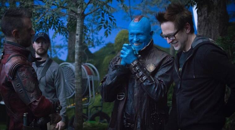 James Gunn on the set of Guardians 2