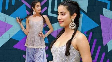 Janhvi Kapoor comes up with a brilliant way to combine tunic, draped pants, and boxer braids