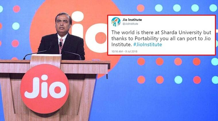 jio institute, jio institute reliance, jio institute of eminence, jio institute modi government, reliance ambani Jio institute of eminence status, Jio Institute Twitter reactions, Indian express, Indian express news