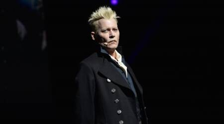 Johnny Depp appears at San Diego Comic-Con in Grindelwald costume