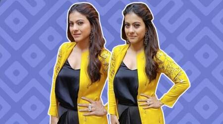 Kajol pulls off a classy colour combination in this outfit, but her make-up is a bigletdown