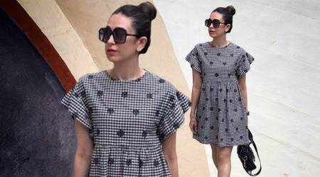 Karisma Kapoor's black-and-white dress is just right for a laid-back summer holiday