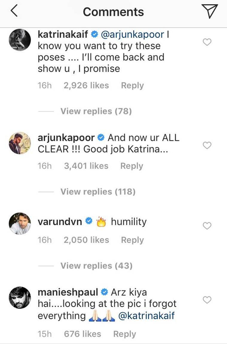 arjun kapoor comments on katrina kaif's photos