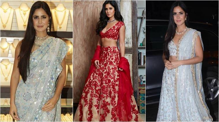 Katrina Kaif, Katrina Kaif latest photos, Katrina Kaif fashion, Katrina Kaif ethnic fashion, Katrina Kaif saris, Katrina Kaif lehengas, indian express, indian express news