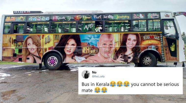 kerala, sunny leone, kerala painted bus, kerala tour bus painted film stars, kerala bus adult film stars, kerala bus sunny leone photos, indian express, odd news, indian express