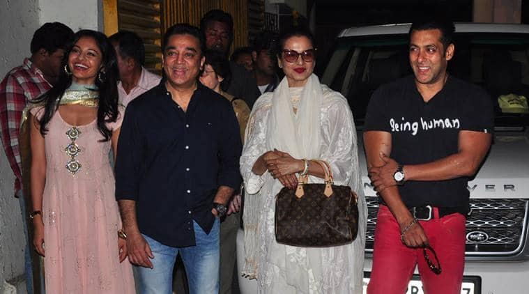 Salman Khan and Kamal Haasan with Rekha and Pooja Kumar