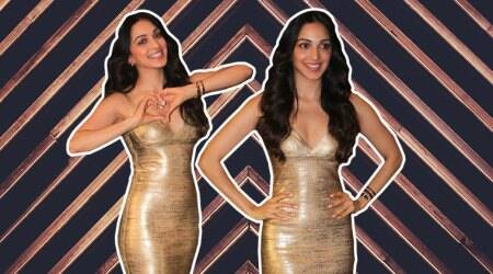 Kiara Advani dazzles in a golden Hervé Léger dress at her birthday party