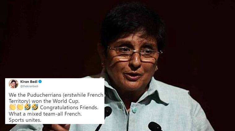 fifa world cup, fifa france, france wins wold cup, kiran bedi, kiran bedi tweets, kiran bedi twitter, kiran bedi france, kiran bedi France FIFA, Indian express, Indian express news