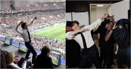 Pics of French President Macron's 'Pogba dab' after France's world cup win go viral