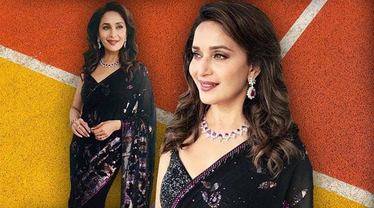 Madhuri Dixit, Madhuri Dixit latest photos, Madhuri Dixit fashion, Madhuri Dixit saris, Madhuri Dixit Tarun Tahiliani sari, indian express, indian express news