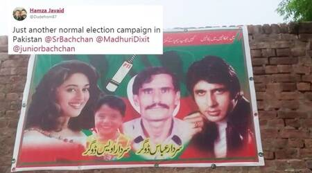 A Pakistan politician's poster with Big B, Madhuri Dixit is what Netizens are talking about