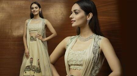 You won't be able to take your eyes off Manushi Chhillar's angelic look in this Anamika Khanna creation