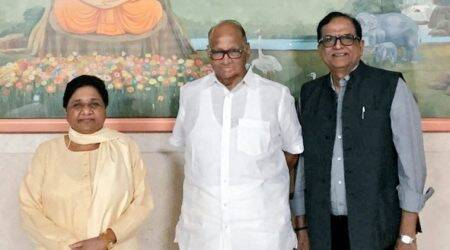 Day after 'respectable seat-share' remark, Mayawati meets Sharad Pawar