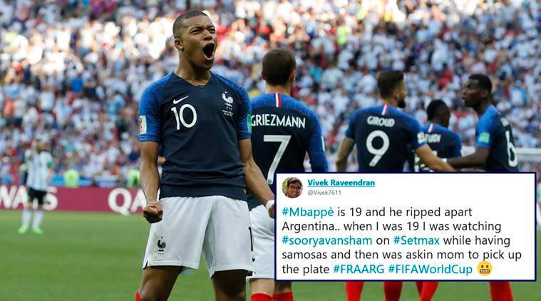 fifa world cup 2018, Kylian Mbappe, france vs argentina, Kylian Mbappe brace, Kylian Mbappe 19, Kylian Mbappe memes, Kylian Mbappe world cup 2018, football news, sports news, indian express
