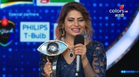 Megha Dhade lifts Bigg Boss Marathi Season 1 trophy