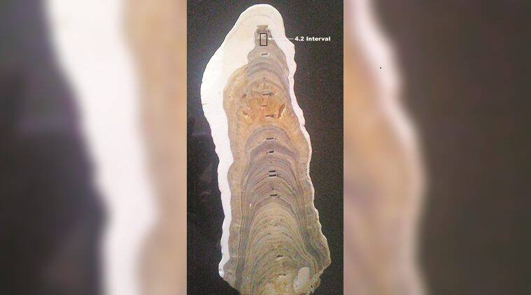 "On July 13, the IUGS tweeted a picture of ""the stalagmite from India with the GSSP for the base of the Meghalayan Stage""."