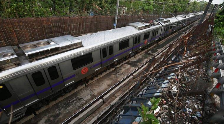 Delhi Metro Violet Line service disrupted due to rain, boundary wall falls on coach